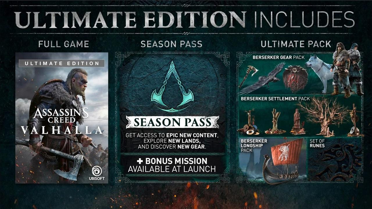 Assassin's Creed Valhalla Ultimate Edition Includes